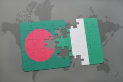 Puzzle with the national flag of bangladesh and nigeria on a world map Stock Photography