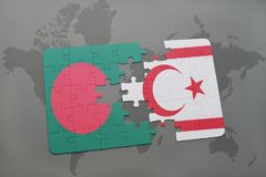 Puzzle with the national flag of bangladesh and northern cyprus on a world map background. Stock Photos