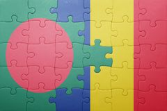 Puzzle with the national flag of bangladesh and romania Royalty Free Stock Image