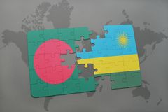 Puzzle with the national flag of bangladesh and rwanda on a world map Stock Photo