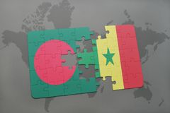 Puzzle with the national flag of bangladesh and senegal on a world map Royalty Free Stock Images