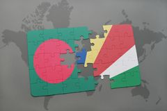 Puzzle with the national flag of bangladesh and seychelles on a world map Royalty Free Stock Photo