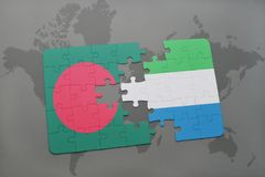 Puzzle with the national flag of bangladesh and sierra leone on a world map Stock Photography