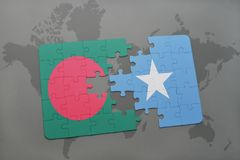 Puzzle with the national flag of bangladesh and somalia on a world map Stock Images