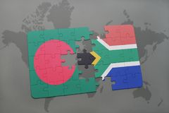 Puzzle with the national flag of bangladesh and south africa on a world map Royalty Free Stock Photography