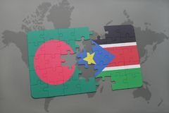 Puzzle with the national flag of bangladesh and south sudan on a world map Royalty Free Stock Photos