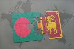 Puzzle with the national flag of bangladesh and sri lanka on a world map background. Stock Photos