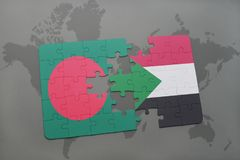 Puzzle with the national flag of bangladesh and sudan on a world map Stock Image