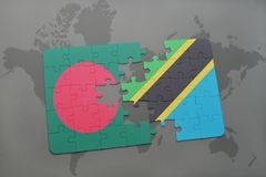 Puzzle with the national flag of bangladesh and tanzania on a world map Stock Photography