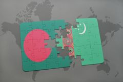 Puzzle with the national flag of bangladesh and turkmenistan on a world map background. Stock Photography