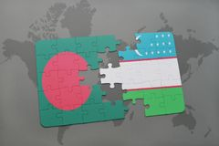 Puzzle with the national flag of bangladesh and uzbekistan on a world map background. Stock Photos