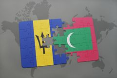 Puzzle with the national flag of barbados and maldives on a world map. Background. 3D illustration Stock Images