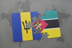 Puzzle with the national flag of barbados and mozambique on a world map. Background. 3D illustration Stock Photo