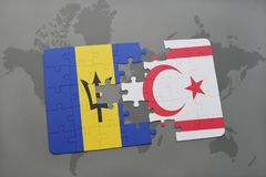 Puzzle with the national flag of barbados and northern cyprus on a world map. Background. 3D illustration Royalty Free Stock Photo