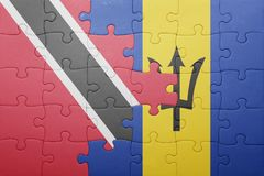 Puzzle with the national flag of barbados and  trinidad and tobago Royalty Free Stock Image