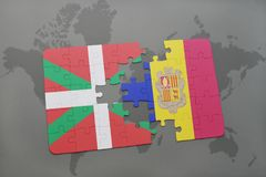 Puzzle with the national flag of basque country and andorra on a world map background. 3D illustration Stock Photography