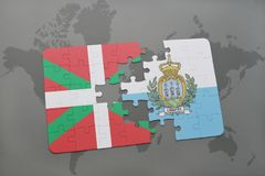 Puzzle with the national flag of basque country and san marino on a world map background. 3D illustration Stock Images