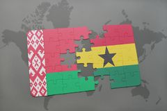 puzzle with the national flag of belarus and ghana on a world map Royalty Free Stock Photos