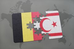 Puzzle with the national flag of belgium and northern cyprus on a world map background. 3D illustration Stock Images