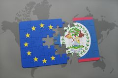 Puzzle with the national flag of belize and european union on a world map Royalty Free Stock Image