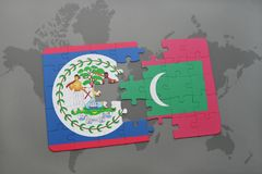 Puzzle with the national flag of belize and maldives on a world map. Background. 3D illustration Stock Images