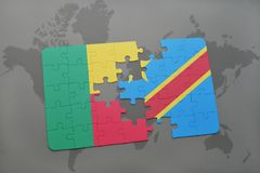 Puzzle with the national flag of benin and democratic republic of the congo on a world map Stock Images