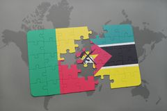 Puzzle with the national flag of benin and mozambique on a world map. Background. 3D illustration Royalty Free Stock Photography