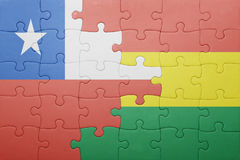 Puzzle with the national flag of bolivia and chile. Concept Stock Photography