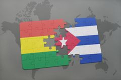 Puzzle with the national flag of bolivia and cuba on a world map background. 3D illustration royalty free stock images