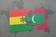 Puzzle with the national flag of bolivia and maldives on a world map. Background. 3D illustration Stock Images