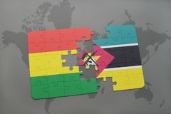 Puzzle with the national flag of bolivia and mozambique on a world map. Background. 3D illustration Stock Photography
