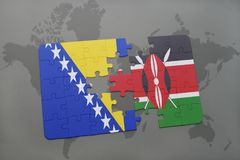 Puzzle with the national flag of bosnia and herzegovina and kenya on a world map. Background. 3D illustration royalty free stock photo