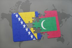 Puzzle with the national flag of bosnia and herzegovina and maldives on a world map. Background. 3D illustration Stock Images