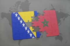 Puzzle with the national flag of bosnia and herzegovina and morocco on a world map. Background. 3D illustration stock image