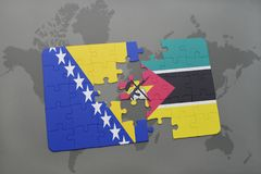 Puzzle with the national flag of bosnia and herzegovina and mozambique on a world map Stock Photos