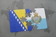 Puzzle with the national flag of bosnia and herzegovina and san marino on a world map background. Stock Images