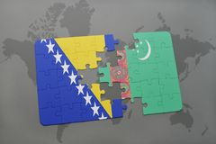 puzzle with the national flag of bosnia and herzegovina and turkmenistan on a world map Stock Image