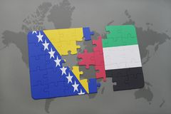 Puzzle with the national flag of bosnia and herzegovina and united arab emirates on a world map. Background. 3D illustration Royalty Free Stock Image