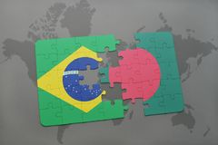 Puzzle with the national flag of brazil and bangladesh on a world map background. 3D illustration stock photo