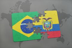 Puzzle with the national flag of brazil and ecuador on a world map background. 3D illustration Stock Photo