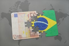 Puzzle with the national flag of brazil and euro banknote on a world map background. 3D illustration Royalty Free Stock Photography