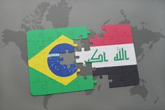 Puzzle with the national flag of brazil and iraq on a world map background. 3D illustration Stock Images