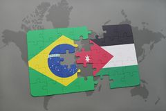 Puzzle with the national flag of brazil and jordan on a world map background. 3D illustration stock image