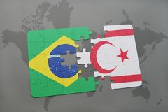 Puzzle with the national flag of brazil and northern cyprus on a world map background. 3D illustration Royalty Free Stock Image