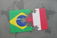 Puzzle with the national flag of brazil and peru on a world map background. 3D illustration Stock Photo