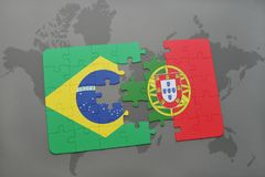 Puzzle with the national flag of brazil and portugal on a world map background. 3D illustration Stock Image