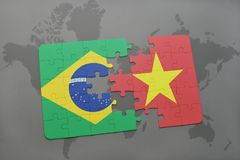 Puzzle with the national flag of brazil and vietnam on a world map background. 3D illustration Stock Photography
