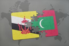 Puzzle with the national flag of brunei and maldives on a world map background. 3D illustration Royalty Free Stock Photos