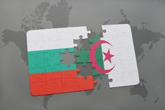 puzzle with the national flag of bulgaria and algeria on a world map Stock Photo