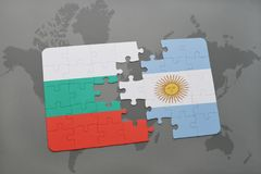 Puzzle with the national flag of bulgaria and argentina on a world map. Background. 3D illustration Royalty Free Stock Photography